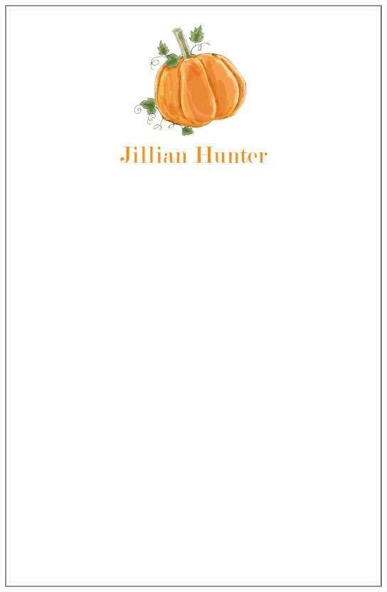 pumpkin  notepad or notesheets in acrylic holder, personalized