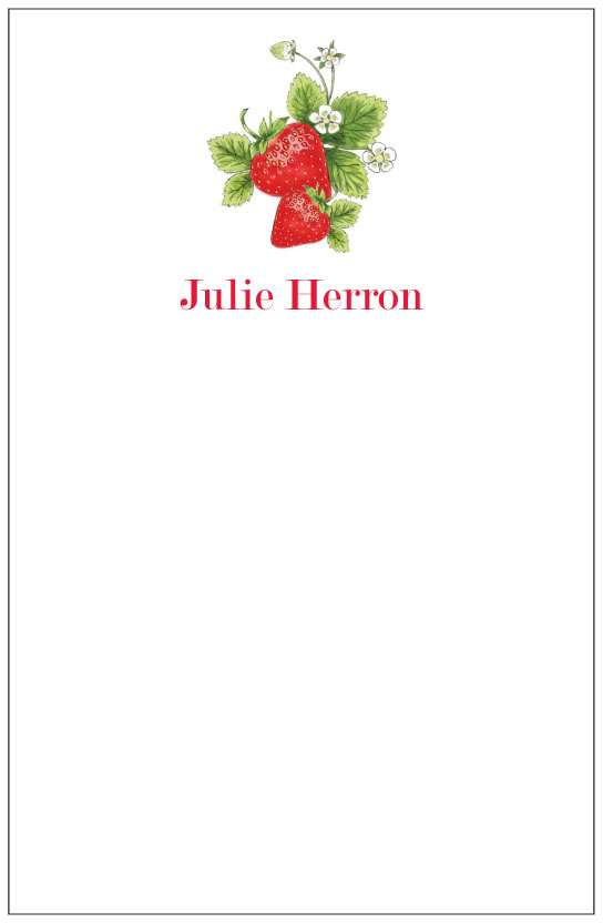 strawberries  notepad or notesheets in acrylic holder, personalized