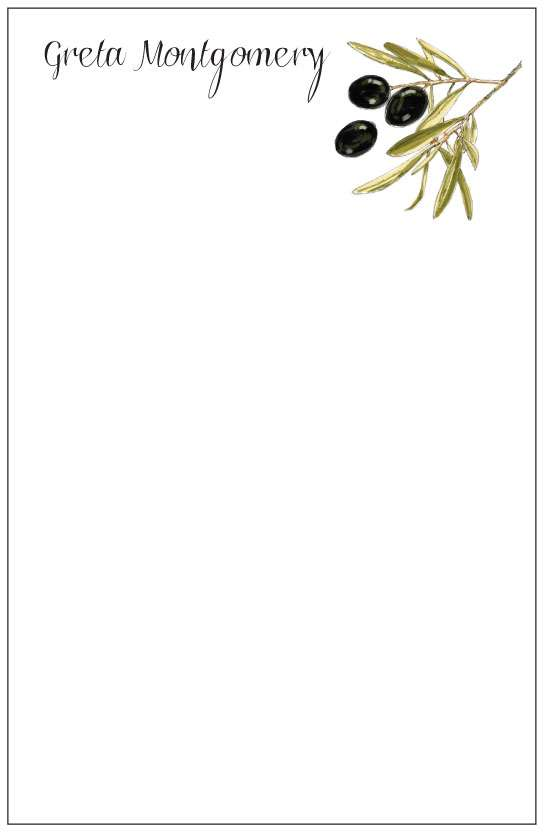 olive branch  notepad or notesheets in acrylic holder, personalized