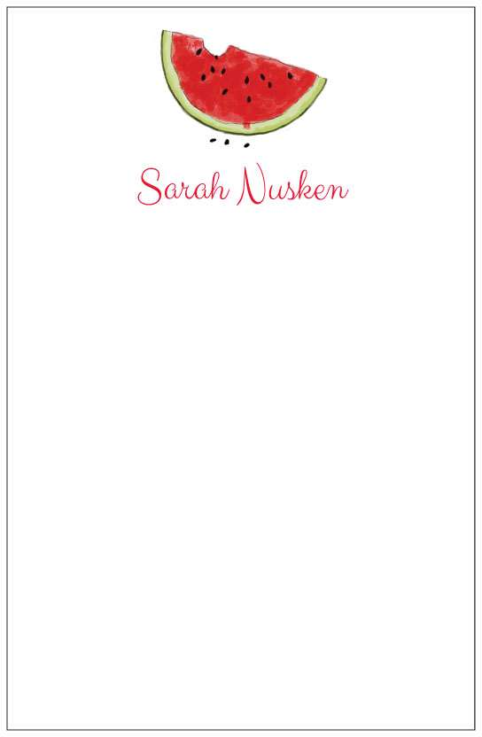 watermelon  notepad or notesheets in acrylic holder, personalized