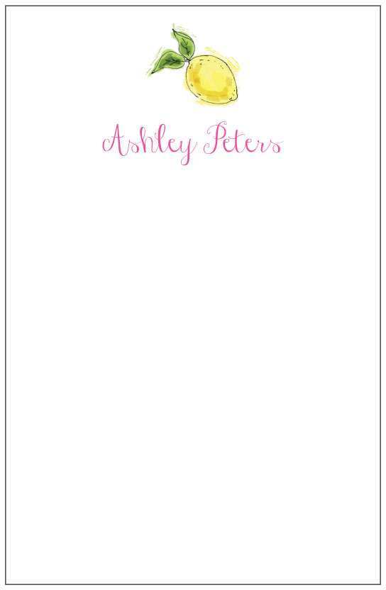 lemon  notepad or notesheets in acrylic holder, personalized