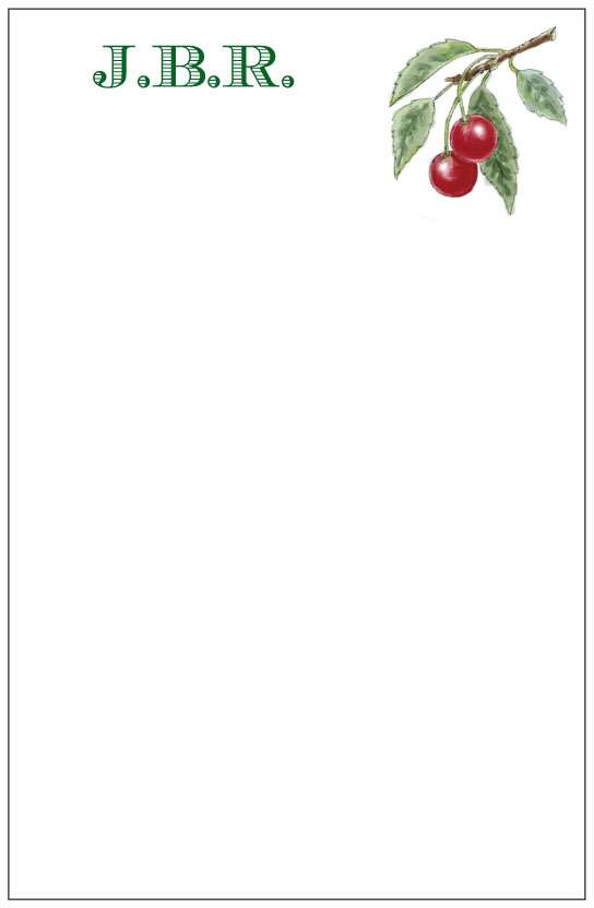 cherry branch  notepad or notesheets in acrylic holder, personalized