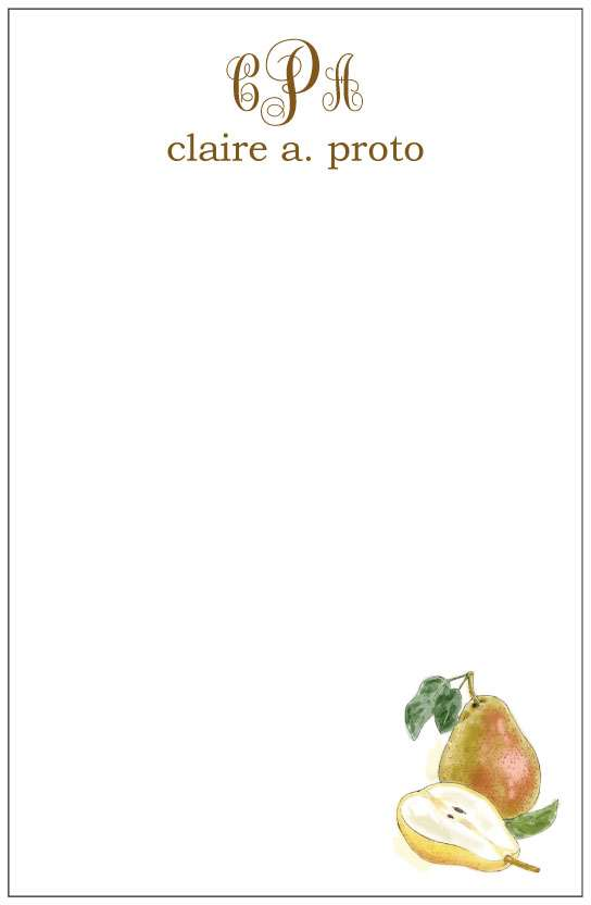 pears  notepad or notesheets in acrylic holder, personalized