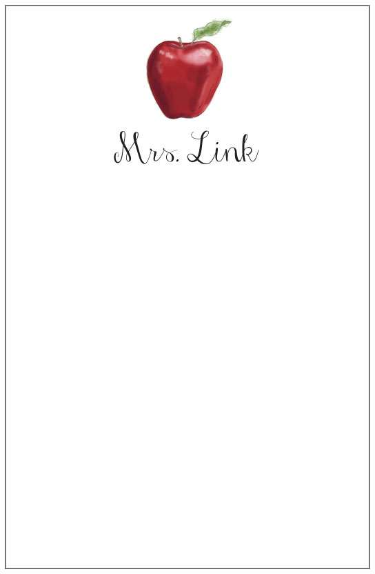 apple  notepad or notesheets in acrylic holder, personalized