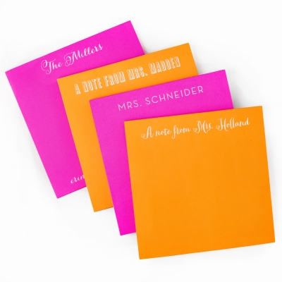 White on Bright Personalized Square Note Pad