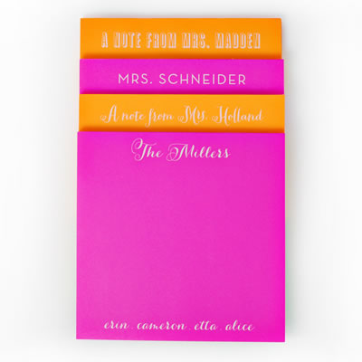 White on Bright Personalized Square Note Pad 1