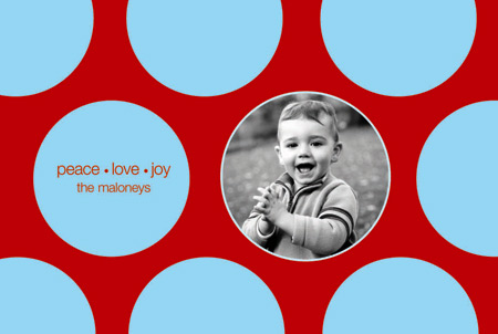 Holiday Dots Red and Blue Photo Included Card