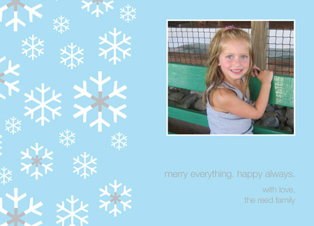 Light Blue Snowflakes Photo Included Card