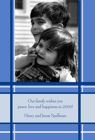 Blue Plaid Photo Included Card