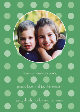 Green on green dots Photo Included Card
