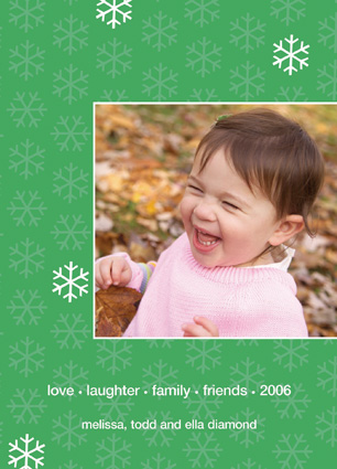 Green with white Snowflakes Photo Included Card