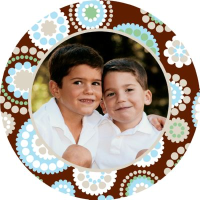 Chocolate with blue dots digital Round photo holiday card