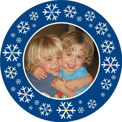 Snow Flake digital Round photo holiday card