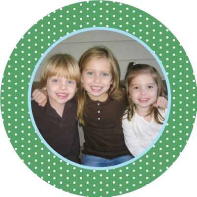 Dotted digital Round photo holiday card