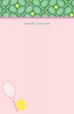 Tennis Note Pad or Stationery Sheets