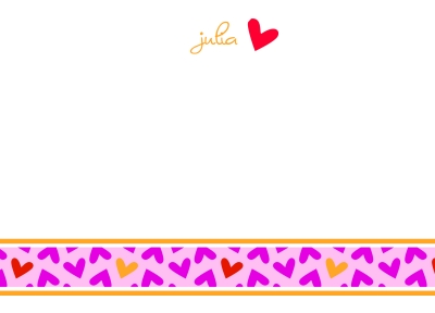 Fallen Hearts Pink Flat Note Card
