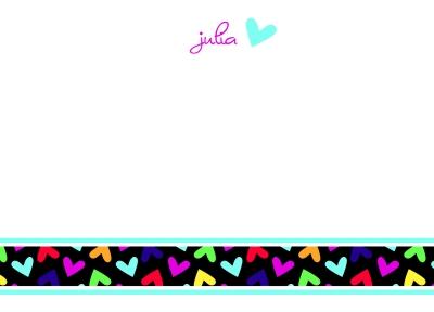 Fallen Hearts Rainbow Flat Note Card