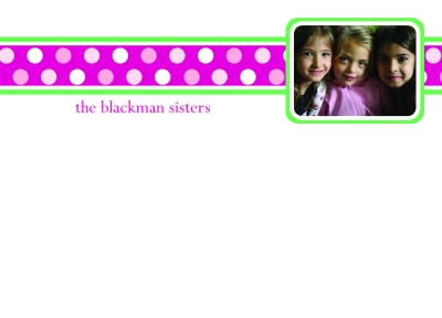 Polka Dots Pink Photo Flat Note Card