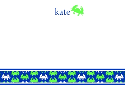 Crabby Notes Navy Flat Note Card
