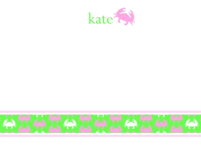 Crabby Notes Pink Flat Note Card