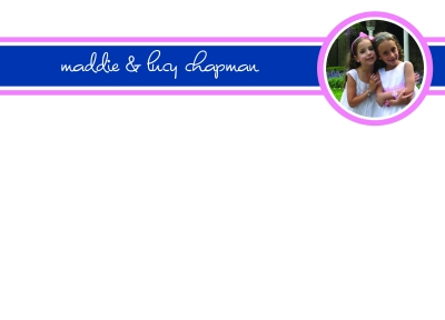 Navy and Pink Photo Flat Note Card