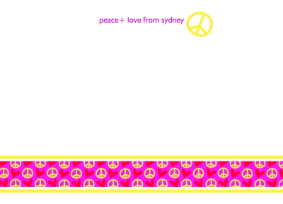 Peace and Love Hot Pink Flat Note Card