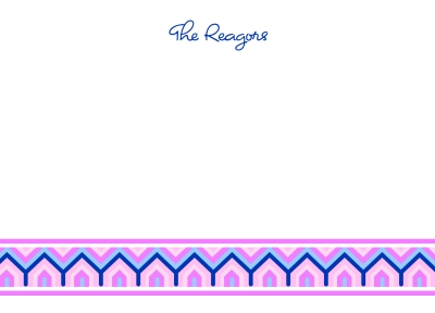 Bargello Pink Flat Note Card by iDesign Paper - Discounted