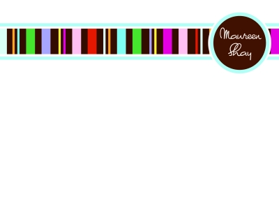 Chocolate Stripes Flat Note Card by iDesign Paper - Discounted