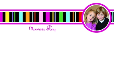 Black Stripes with Photo Flat Note Card