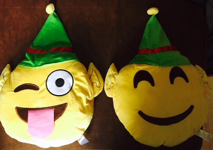 Christmas Elf Emoji Pillows at a Discount