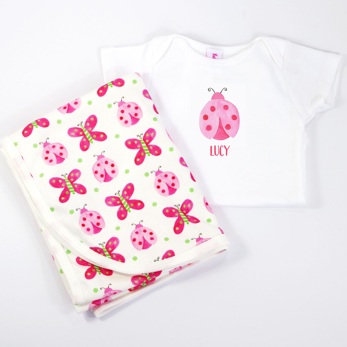 Ladybug Personalized Onesie and Coordinating Blanket for Baby