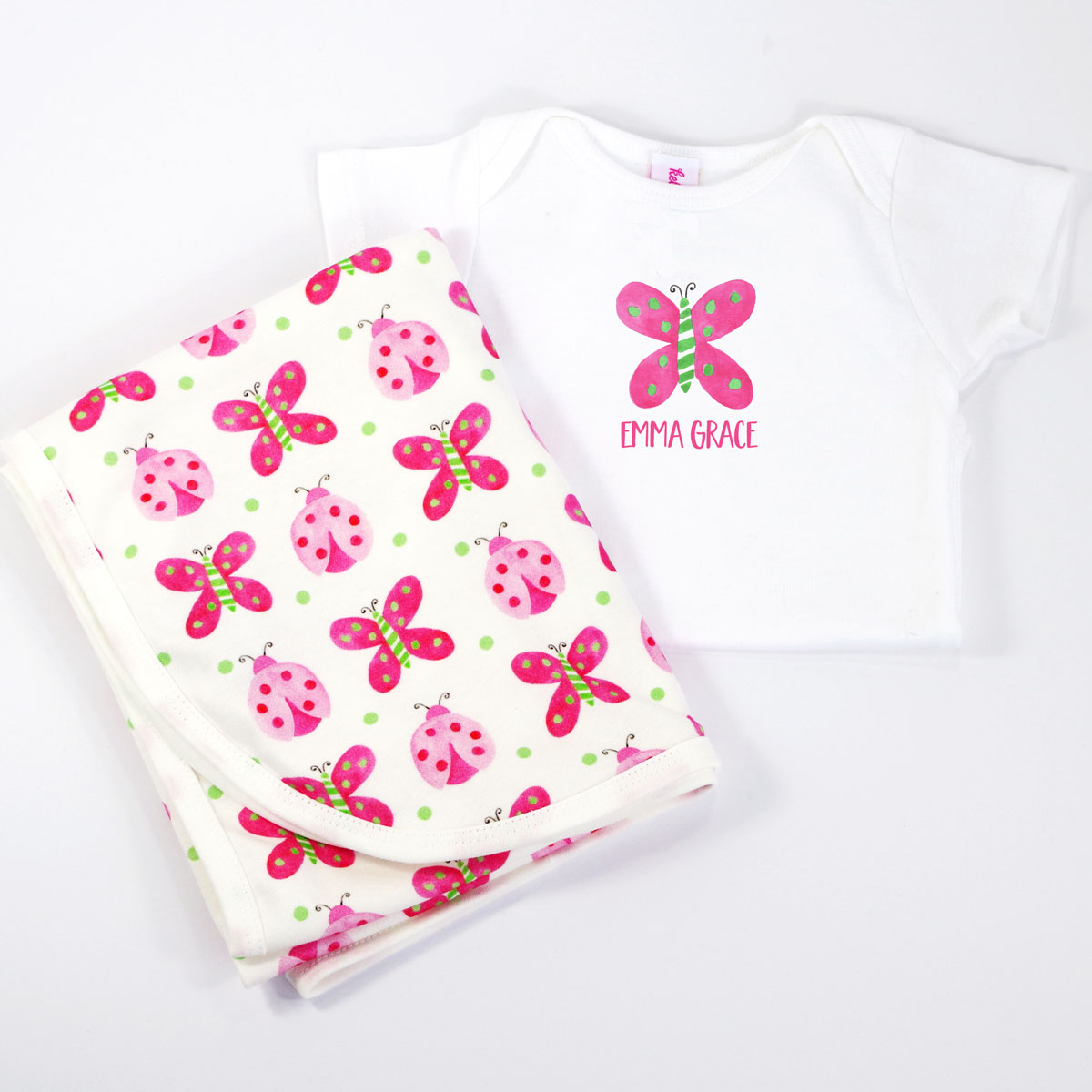 Butterfly Personalized Onesie and Coordinating Blanket for Baby