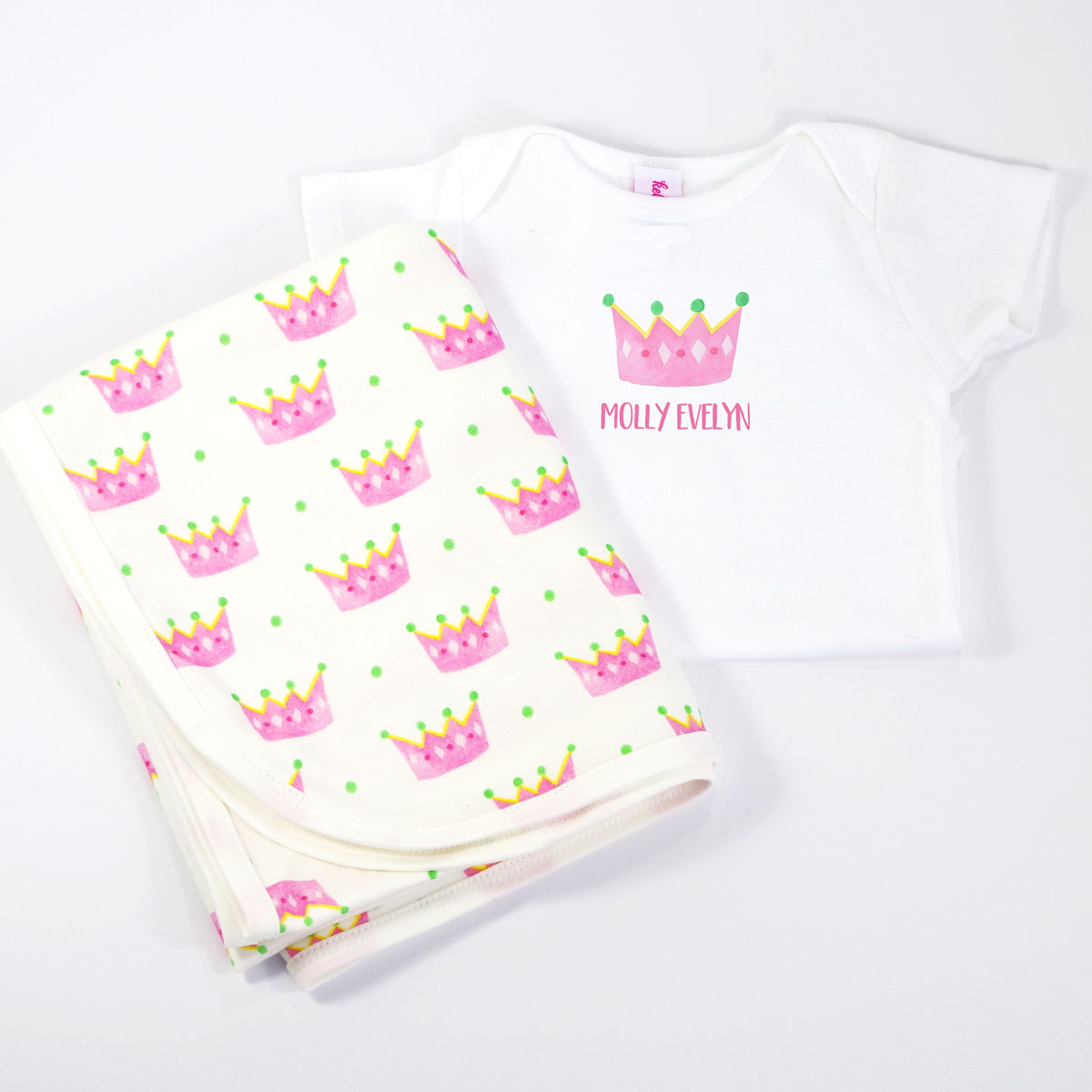 Princess Personalized Onesie and Coordinating Blanket for Baby