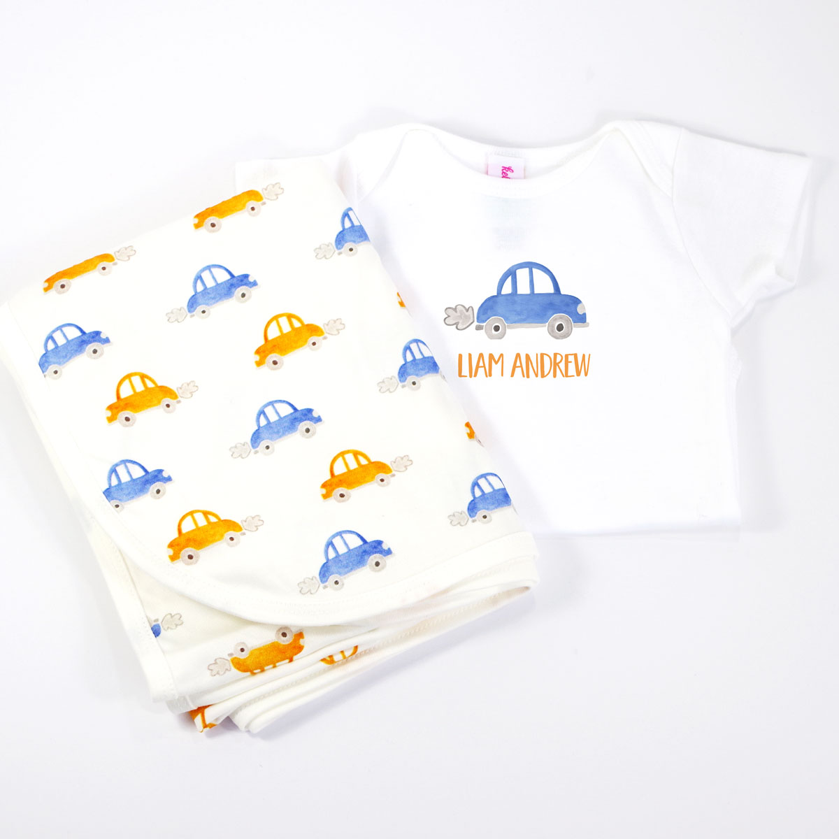 Car, Vroom Vroom,  Personalized Onesie and Coordinating Blanket for Baby