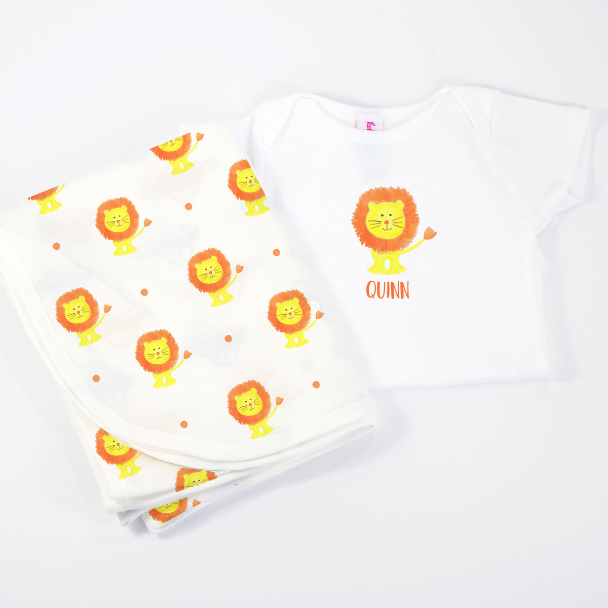 Lion Personalized Onesie and Coordinating Blanket for Baby