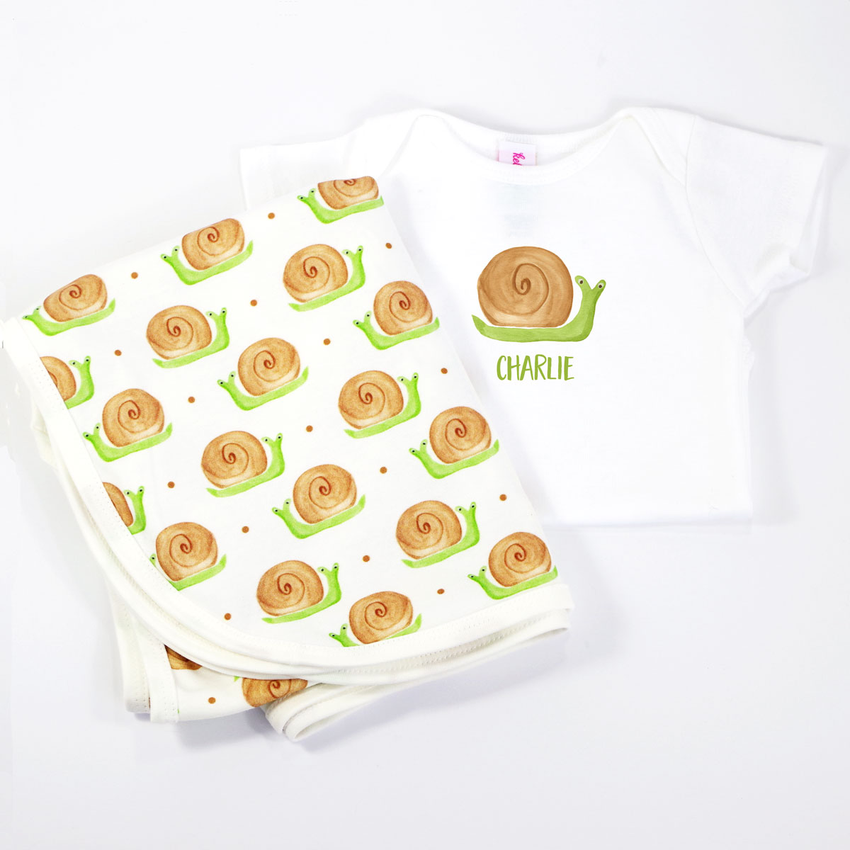 Snail Personalized Onesie and Coordinating Blanket for Baby