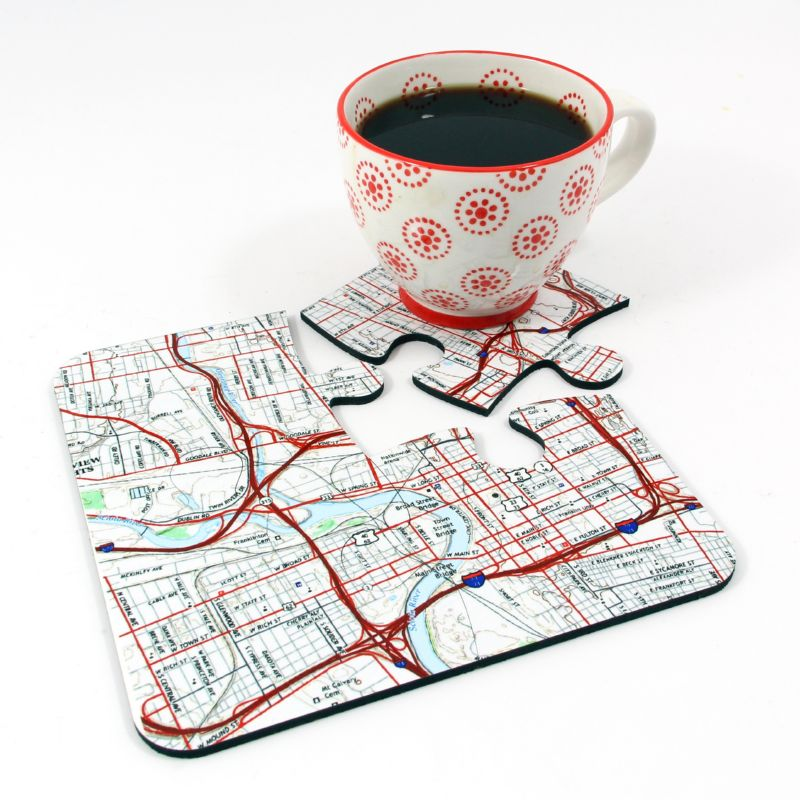 4-Jigsaw Coasters, Fit Together for a Placemat to Create a Personalized Map of Your Chosen Location