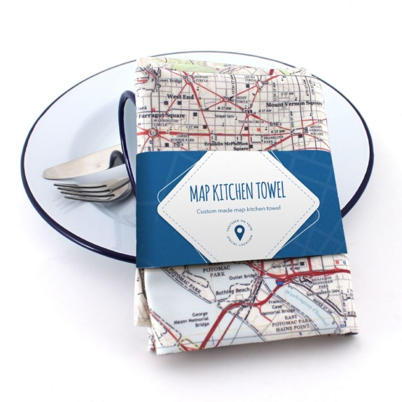 Map Kitchen Towel Personalized to Your Address