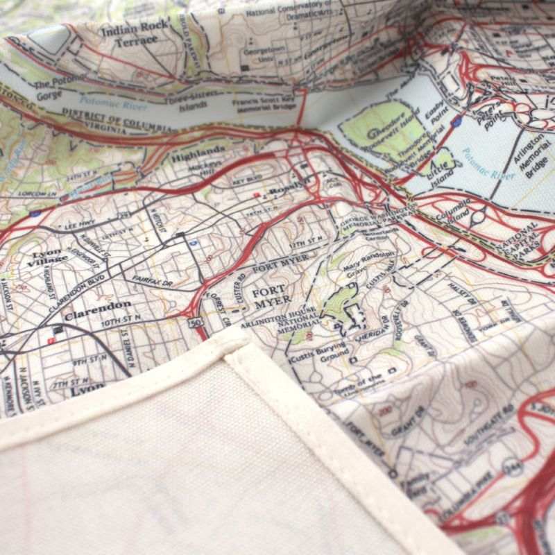 kitchen towel Map Back Stitching
