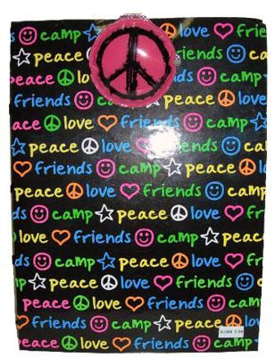 Black Peace Love Camp Clipboard