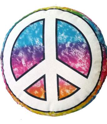 Peace sign pillow with marker for friends to sign.