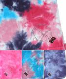 Tie Dye Beach towels with rhinestone appliques heart
