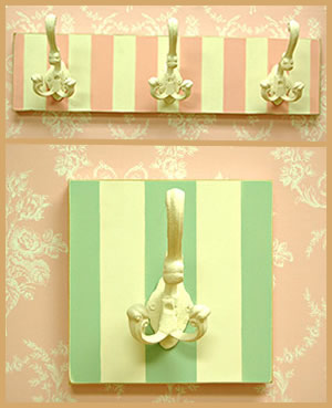 Pink Stripe Hook Rack or Green Stripe Hook Rack