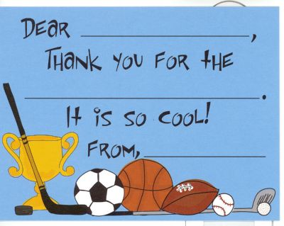 I love sports Fill in thank you (10/pkg)  4 IN STOCK