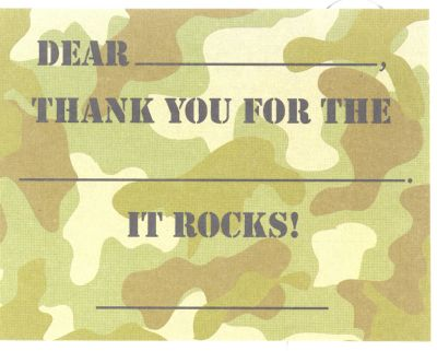 Boy Camo Fill in thank you (10/pkg) 5 PACKAGES IN STOCK READY TO SHIP