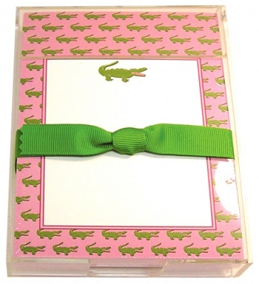 Pink Alligator Acrylic Notepad