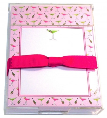 Lime & Pink Martini Acrylic Notepad