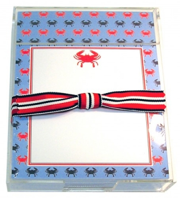 Red & Blue Crab Acrylic Notepad