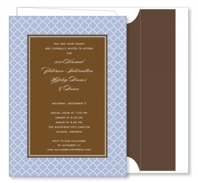Arabesque Border Blue with Chocolate