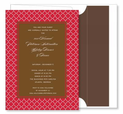 Arabesque Border Red with Chocolate